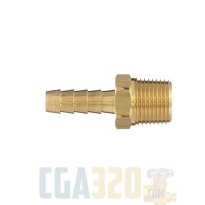 "Picture of 1/8"" Hose x 1/8"" Male NPT Brass Hose Barb"
