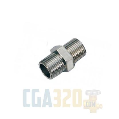 "Picture of 1/8"" x 1/8""MPT Brass Hex Nipple - Nickel Plated"