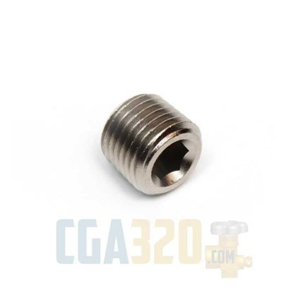 "Picture of 1/4"" NPT Brass Socket Head Pipe Plug - Nickel Plated"