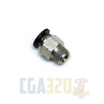 "Picture of 1/4"" Tube x 1/8"" Male NPT Nickel Plated Brass Push-to-Connect Connector"