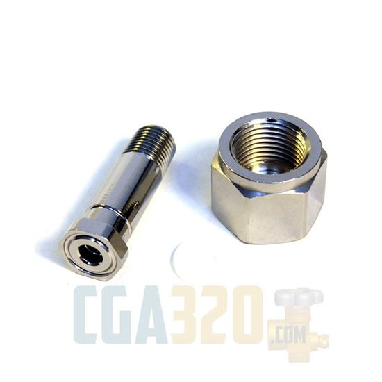 """Picture of Short CGA-320 Nut & 2"""" Nipple - Chrome Plated"""