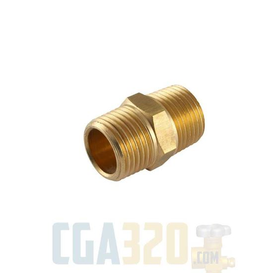 "Picture of 1/4"" x 1/8""MPT Brass Reducing Hex Nipple"