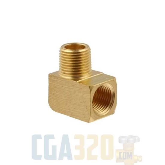 """Picture of 1/8"""" MPT x 1/8"""" FPT Brass Street Pipe Elbow"""