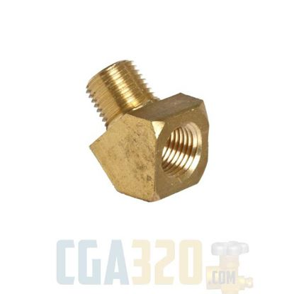 "Picture of 1/8"" MPT x 1/8"" FPT Brass 45Deg Street Pipe Elbow"
