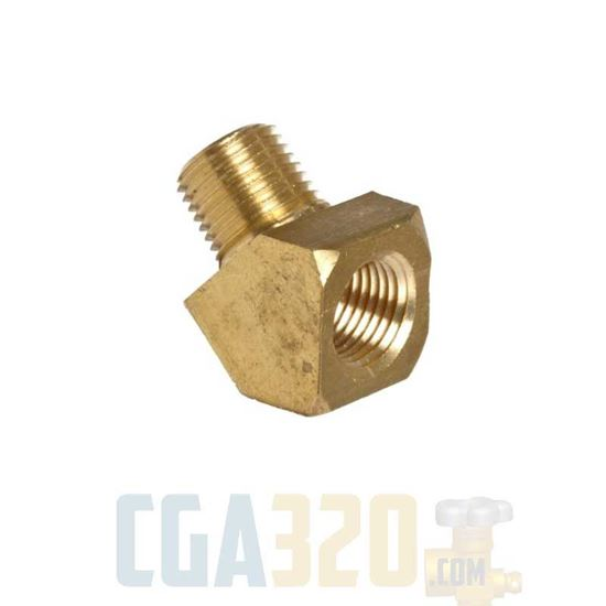 """Picture of 1/8"""" MPT x 1/8"""" FPT Brass 45Deg Street Pipe Elbow"""