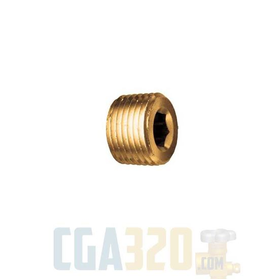 """Picture of 1/4"""" NPT Brass Socket Head Pipe Plug"""