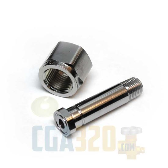 "Picture of CGA-320 Nut & 2.5"" Nipple - Chrome Plated"