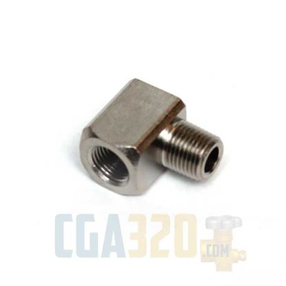 "Picture of 1/8"" MPT x 1/8"" FPT Brass Street Pipe Elbow - Nickel Plated"