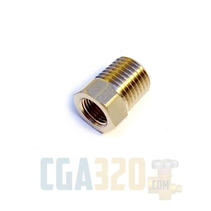 "Picture of 1/4"" x 1/8""FPT Reducing Hex Nipple - Nickel Plated"
