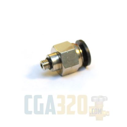 "Picture of 1/4"" Tube x 10-32UNF Male - Nickel Plated Push-to-Connect Connector"