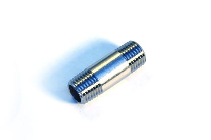 "Picture of 1/4"" NPT Pipe Nipple - Nickle Plated"